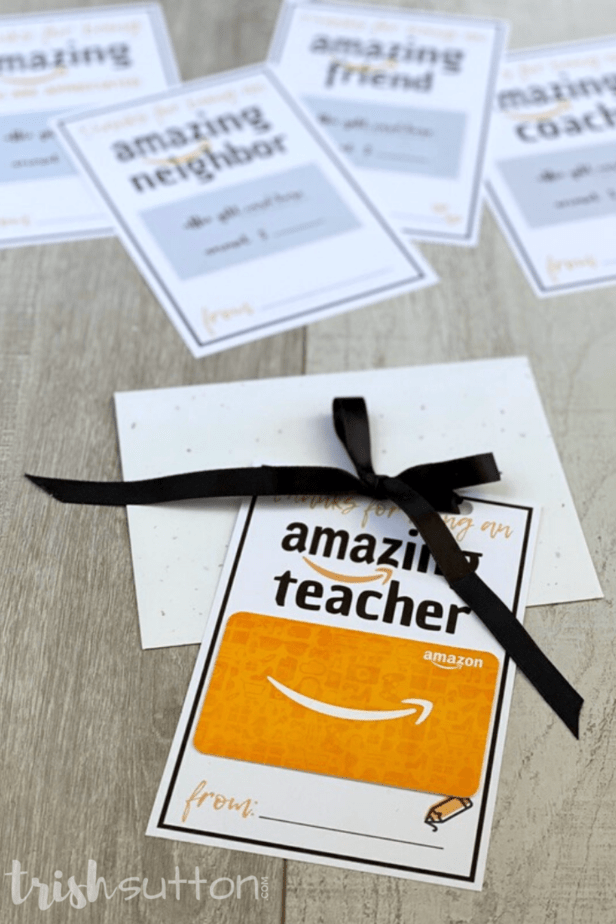 amazing amazon gift card printable on a wood background
