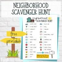 Neighborhood Scavenger Hunt Free Printable