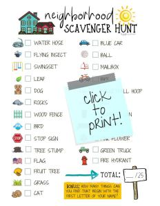 This Neighborhood Scavenger Hunt is a great activity for kids of all ages. It can be played individually or with teams and all 25 objects include pictures. TrishSutton.com