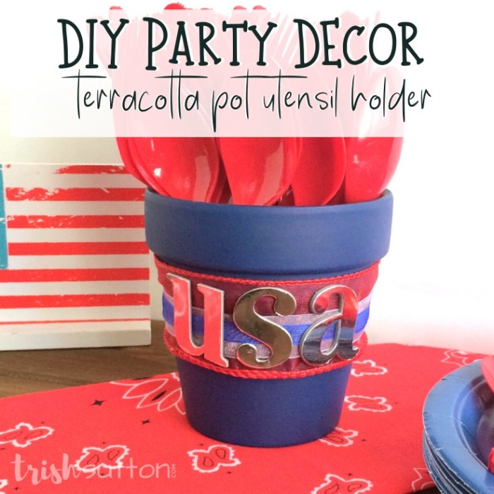 CreateCreate a festive and versatile tabletop caddy that doubles as a utensil holder with this simple DIY Party Decor Terracotta Pot tutorial.upcycled picnic and party accessories with vegetable cans. This DIY Upcycled Tin Can Utensil Caddy tutorial makes a great tabletop addition.