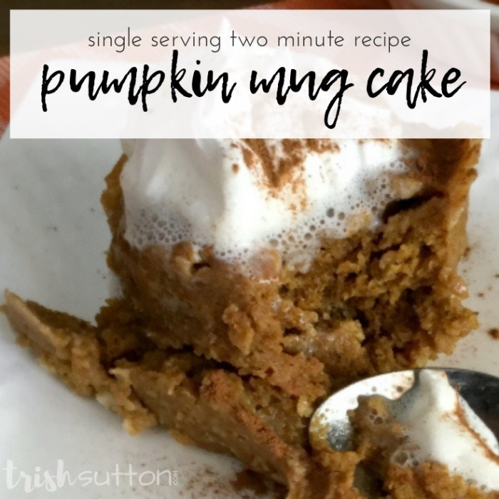 Simple Two Minute Pumpkin Mug Cake Recipe by Trish Sutton