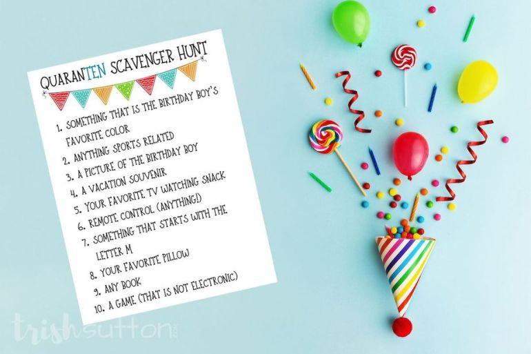 Virtual Birthday Party; Scavenger Hunt