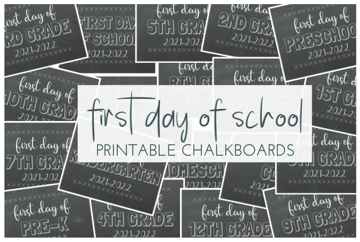First Day of School Free Printable Chalkboards; 19 free printables from preschool to 12th grade, CDO and homeschool chalkboards.