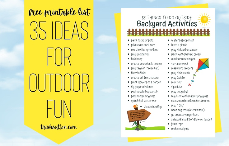 Backyard Activities   35 Things To Do Outside