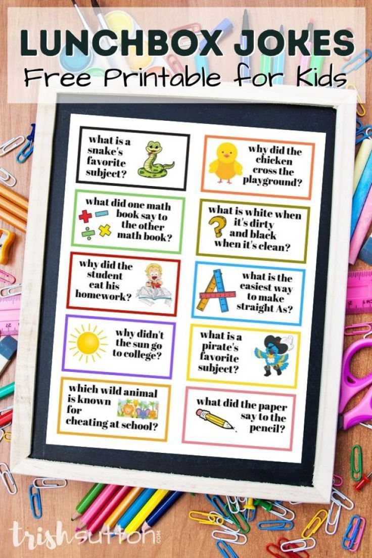 Free Printable Lunchbox Jokes for Kids | School Subject Edition