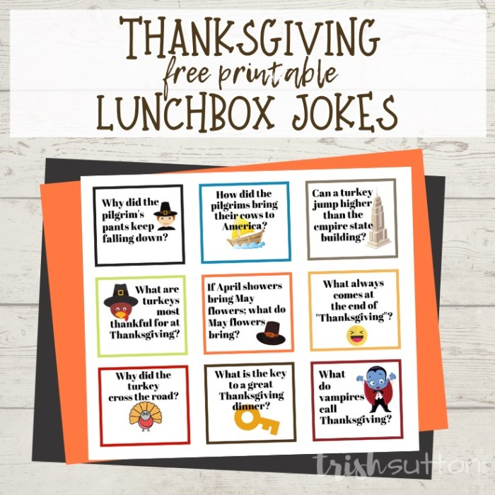 Free Printable Thanksgiving Jokes for Kids; TrishSutton.com