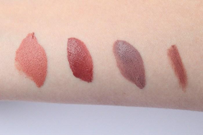 "Von links nach rechts: Lipliner ""Mauve"", Lingerie 02 Embellishment, Lingerie 12 ""Exotic"" und die Lip Cream 02 ""Stockholm""."