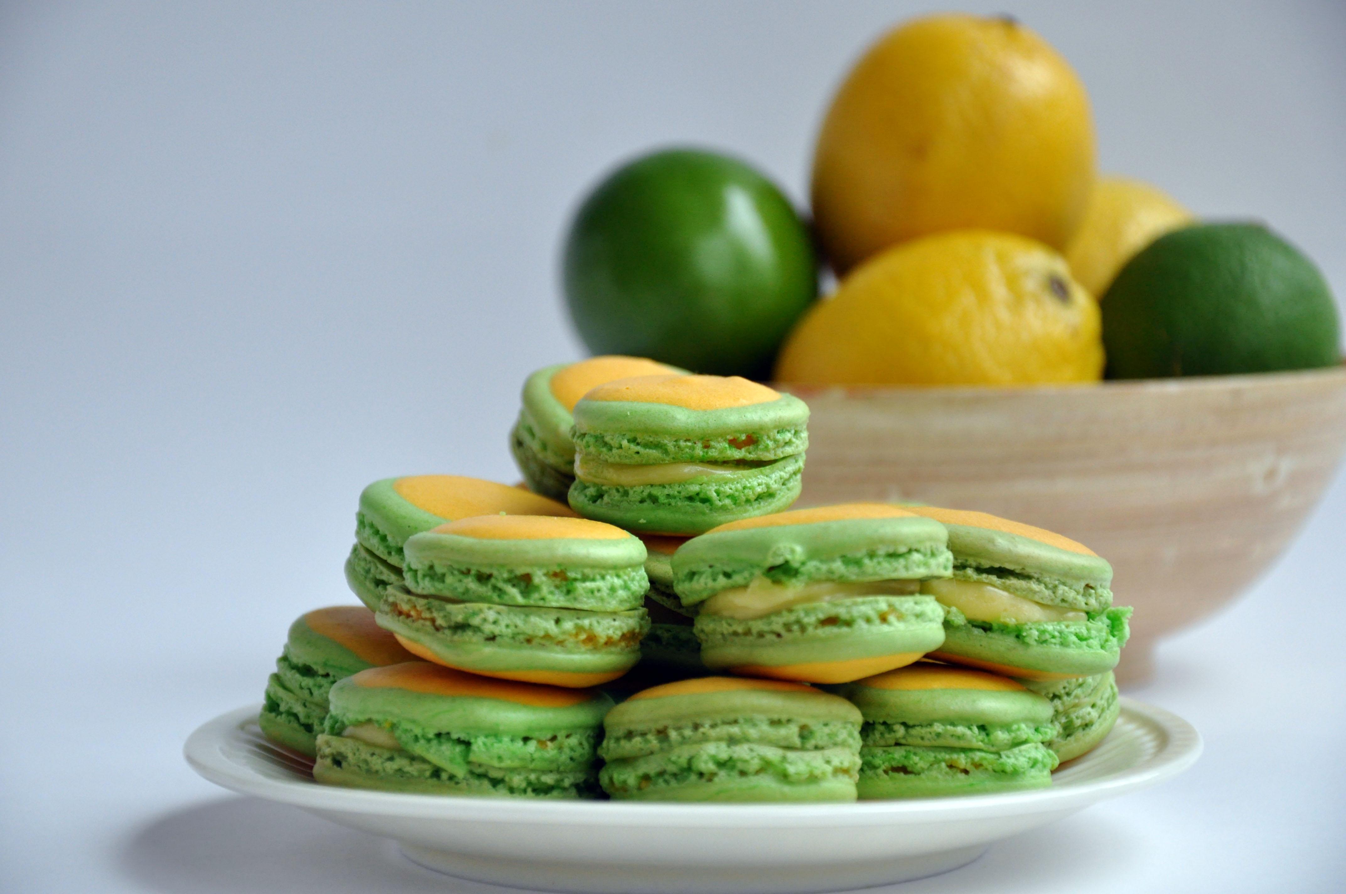 Lemon Lime Macarons With Lemon Lime Curd Of Course!