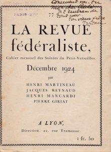 1924 - La revue fédéraliste