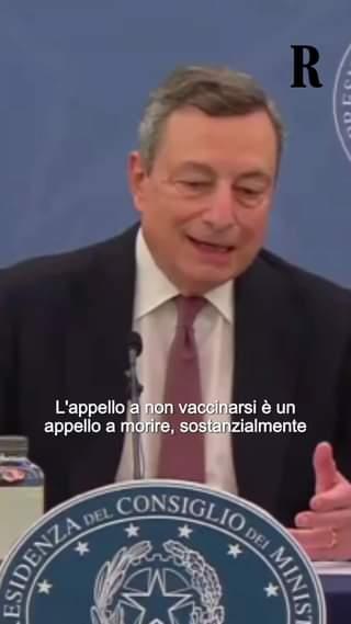 """Mario Draghi: """"L'appello a non vaccinarsi è l'appello a morire"""""""