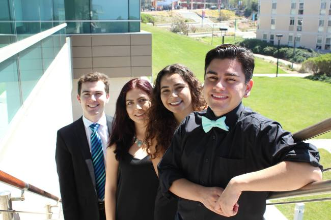 From left to right, Students Determined candidates Freddy Arriola. Natasha H Morgan-Witts, Brenda B. Alvarez, and Freddy Arriola. Photo courtesy of Students Determined.