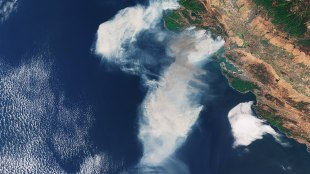 The Copernicus Sentinel-3A satellite captured this image of smoke from wildfires in the US state of California on Oct. 9, 2017. Photo courtesy of the European Space Agency.