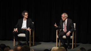 UC Berkeley School of Law Dean Erwin Chemerinsky (right) discusses free speech issues in Price Center Theater on Feb. 27. (Roy Velasquez / The Triton)
