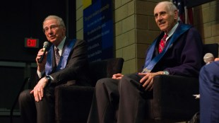 Qualcomm founder Irwin Jacobs (left) and Professor Emeritus Stuart Brody (right) spoke at Muir College's 50th anniversary event. (Cody Smith / Muir College)