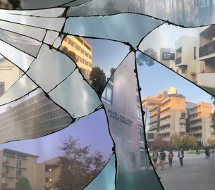 Photos of the six colleges split into shattered panes of glass