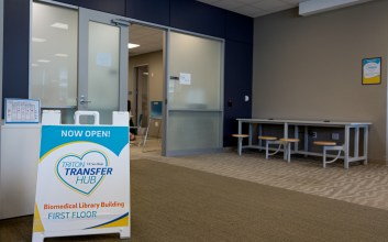 Photo of the new transfer resource center in the Biomedical Library.