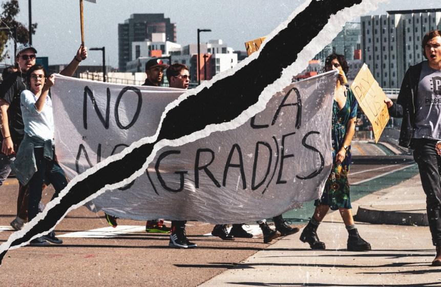 A torn image of COLA protestors.
