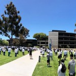 Photo of protestors at the UCSD School of Medicine