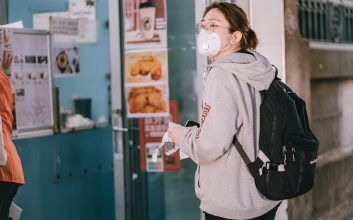 Student with mask on.