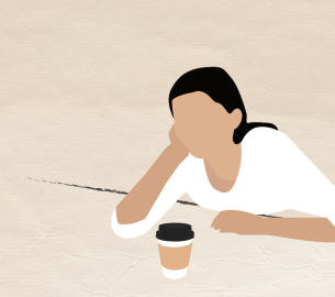 A graphic of a girl next to a cup of coffee.