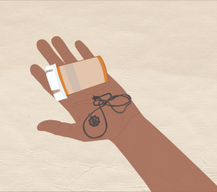 A graphic of a hand holding pills and a necklace.