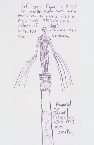 Kiki Smith's initial drawing for Standing envisioned ribbons flowing from the statue's arms
