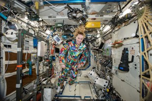 While on board the ISS, Rubins wore a special spacesuit hand-painted by patients recovering at Houston's MD Anderson Cancer Center to raise awareness about the benefits of pairing art with medicine.