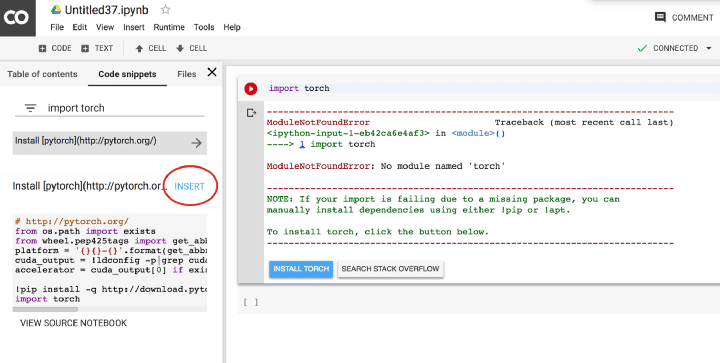 google colab code snippets