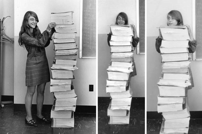 Margaret Hamilton và chồng mã nguồn đưa con người lên mặt trăng.