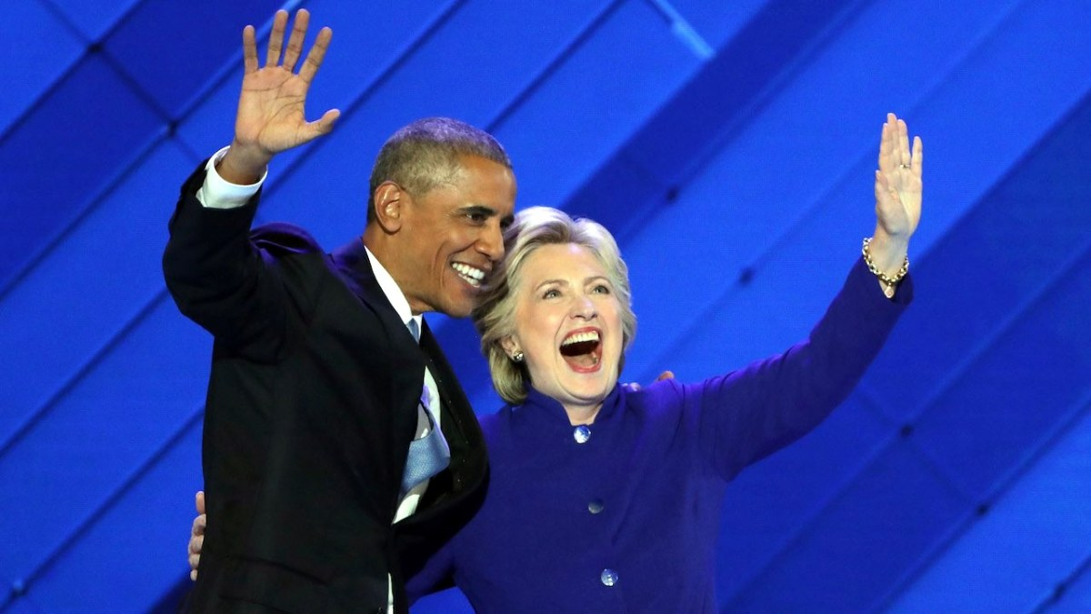 President Obama and HIllary Clinton at the 2016 DNC