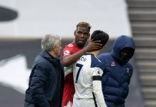 José Mourinho e Son, do Tottenham, e Pogba, do Manchester United