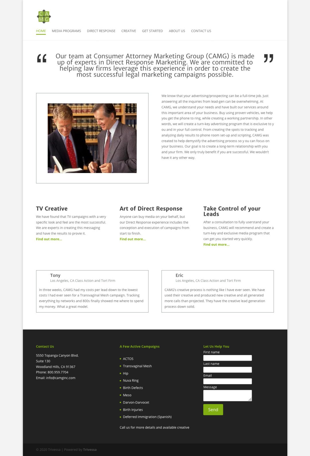 CAMG website as redesigned by Trivessa