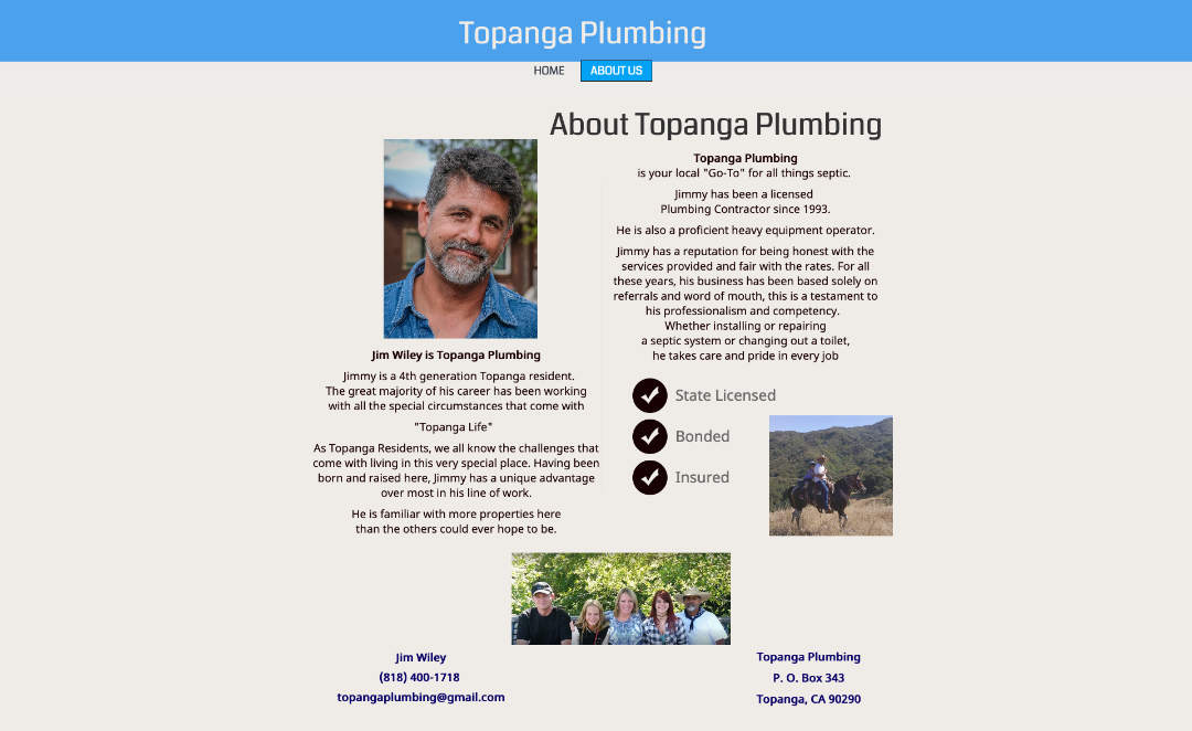 Homepage of Topanga Plumbing's original website