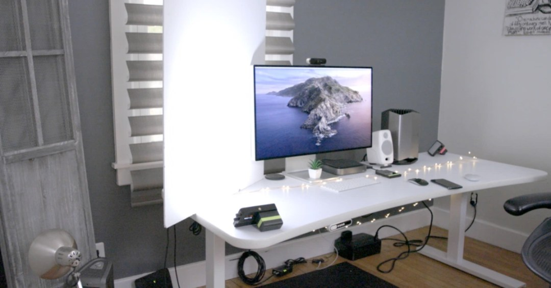 home office with desktop computer and lighting