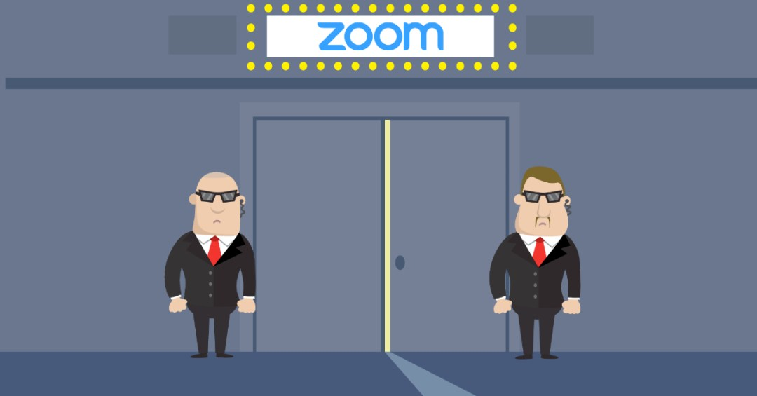 illustration with zoom logo and two bodyguards