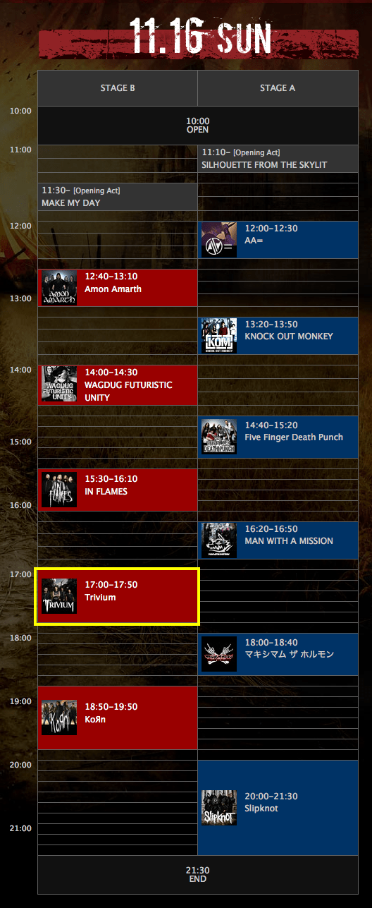 KNOTFEST JAPAN 2014 timetable