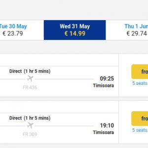 Bucuresti - Timisoara - 31 mai - 15 euro