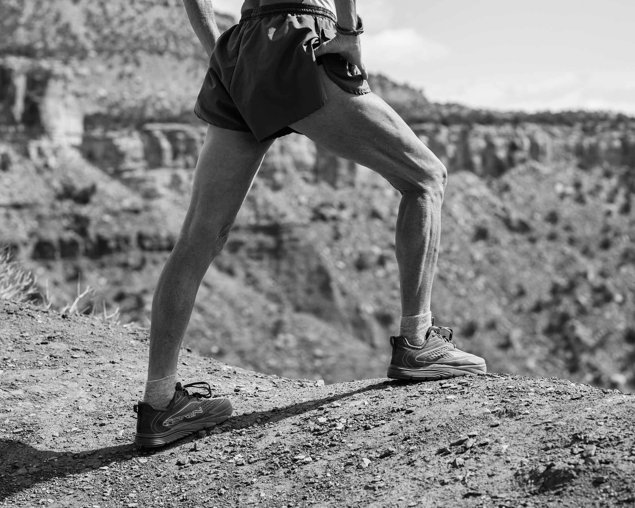 Reed stretches and practices yoga in the desert near Zion National Park the day before the ultramarathon.
