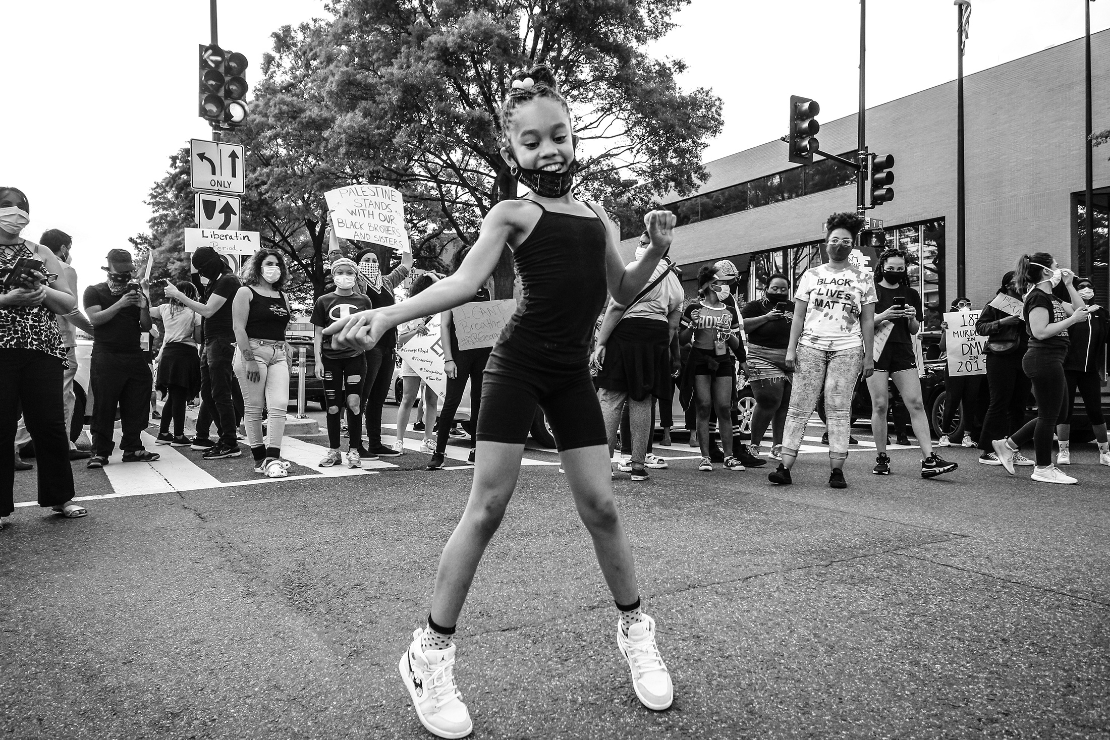 10 year old Sashay dancing for protesters at the Black Lives Matter march for George Floyd on May 30 in Washington, D.C. at The Wharf. BLM members shut down access to the wharf to bring awareness to Police Brutality. PHOTO: DEE DWYER