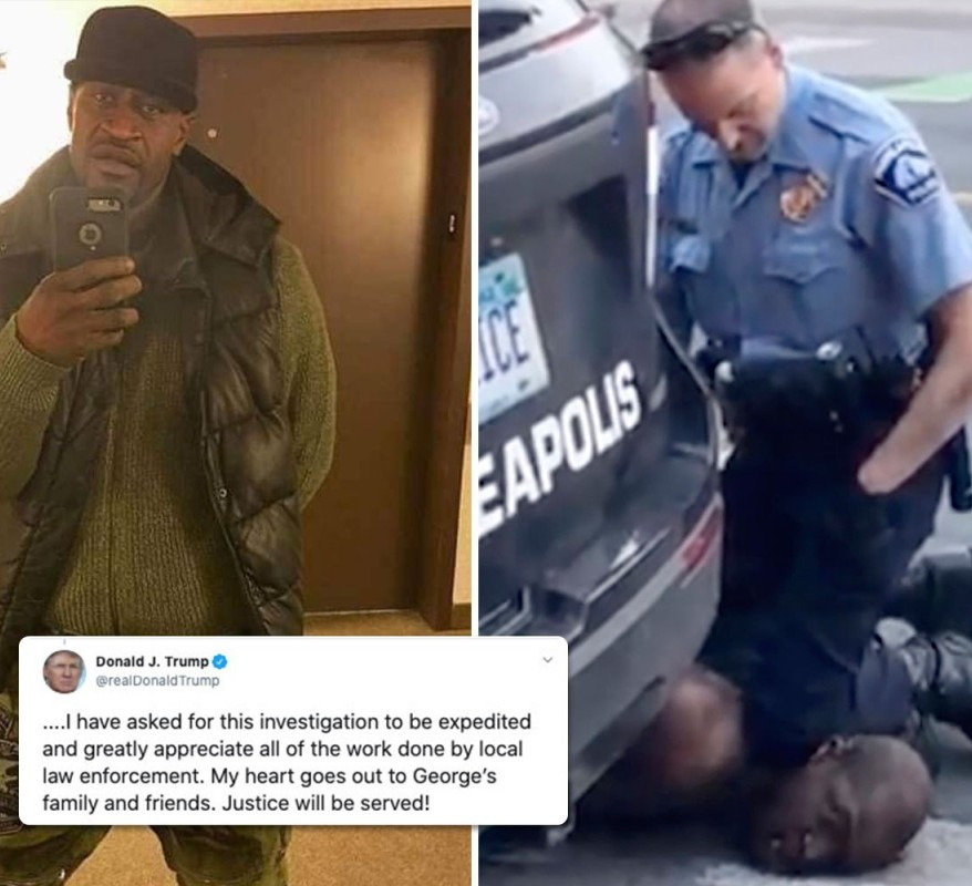 Donald Trump reacts to the death of George Floyd after a Minneapolis police officer knelt on his neck