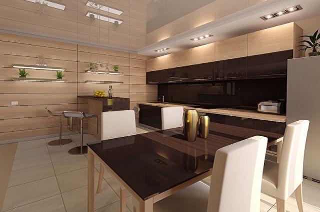 Bej Mutfak Tasarımı - Duvar Dekorasyonu