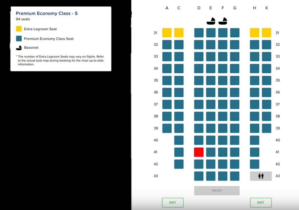 singapore airlines premium economy seatmap for ultra long range airbus a350