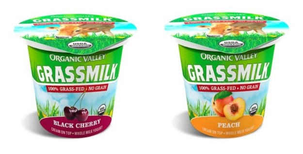 Organic Valley's award-winning Grassmilk Yogurt single-serves are now offered in two new flavors:  Black Cherry and Peach. (PRNewsfoto/Organic Valley)