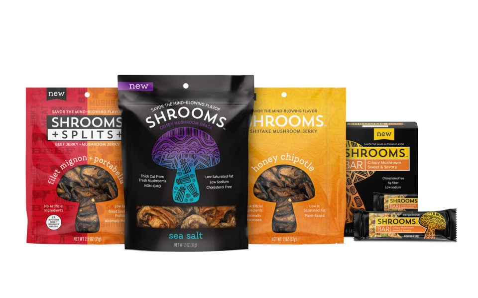 Shrooms Snacks launches four product lines of great-tasting, adventurous snacks made from whole mushrooms: Splits Jerky, Crispy Mushrooms, Mushroom Jerky and Snack Bars.