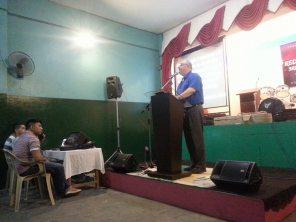 Bro. Strømmen preaching at Redstone