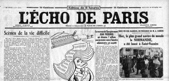Une du journal L'Echo de Paris du 30 octobre 1932.