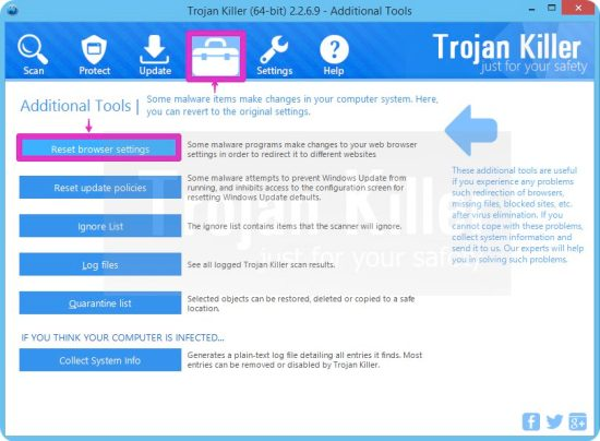 Tool to reset browser settings with Trojan Killer