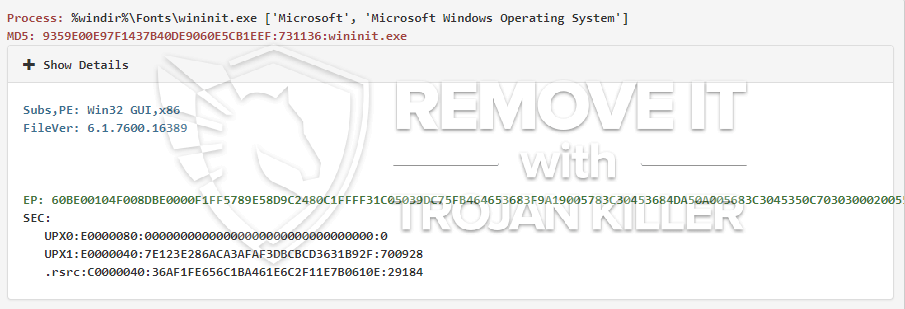 remove wininit.exe virus