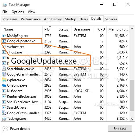 remove GoogleUpdate.exe virus