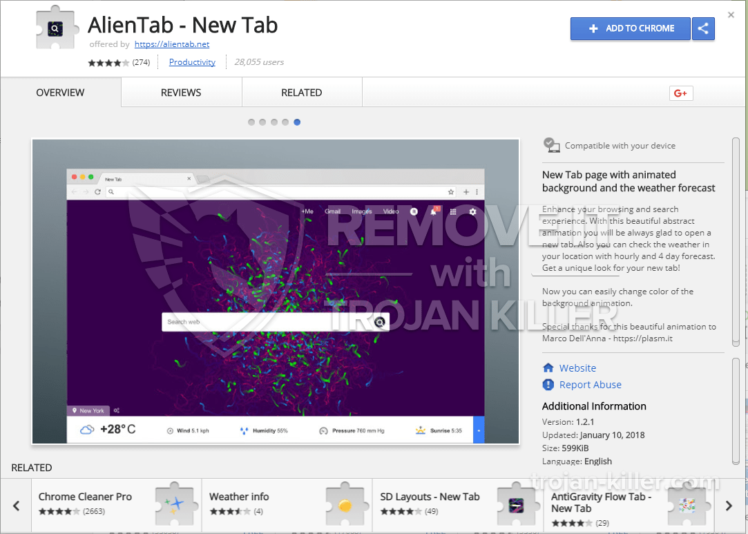 remove AlienTab - New Tab virus